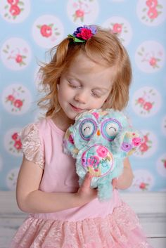 Kids owl toy  Handmade owl toy  Personalized by Fitzthumboutique