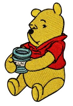 Winnie The Pooh Bear Honey Pot Patch Disney Cartoon Character Iron-On Applique Image 1 of 1 Cute Patches, Pin And Patches, Iron On Patches, Jacket Patches, Iron On Badges, Pin Badges, Winnie The Pooh Honey, Disney Iron On, Disney Patches