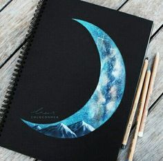 ~Pastel Moon Hey guys, If you're an artist and don't watermark your work, I strongly suggest you start. Dibujos Dark, Art Watercolor, Art Abstrait, Painting & Drawing, Pastel Drawing, Colour Drawing, Black Paper Drawing, Pastel Art, Pencil Art