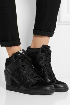 factory authentic f7a13 01385 NIKE + Undercover Dunk Sky Hi leather and faux calf hair sneakers Nike Sky  Hi,
