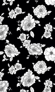 Floral Black and White iPhone background White Flower Wallpaper, Black And White Wallpaper Iphone, White Background Wallpaper, White Iphone, Background Patterns, Black And White Flowers, Black And White Background, White Art, Trendy Wallpaper