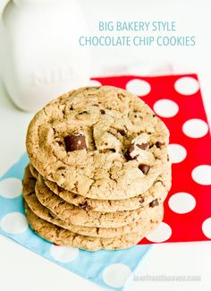 Bakery Style Chocolate Chip Cookies.  Just like the bakery, a little crisp on the edges, chewy in the middle, full of chocolate.  SO good.