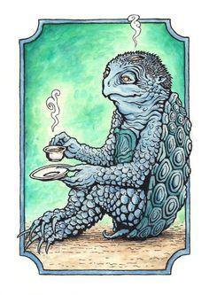 patrickweck: Kappa Tea Watercolor and ink on aquaboard. Even Japanese river demons need a nice cuppa now and then. Japanese Folklore, Japanese Art, Japanese Yokai, Japanese Whisky, Magical Creatures, Fantasy Creatures, Watercolor And Ink, Watercolor Paintings, Beast From The East