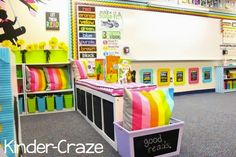 Maria Manore's K classroom - love the bench seating (using Ikea Expedit shelving on its side)... room to sit and store