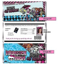 CUSTOM MONSTER HIGH BIRTHDAY PARTY CANDY BAR WRAPPERS