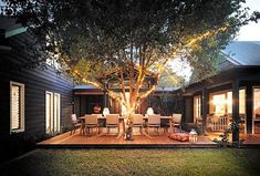 Patio Enclosed Courtyard Design with a Central Entertaining Deck Landscaping With Rocks Will Spotlig Courtyard Design, Patio Design, Exterior Design, Home With Courtyard, Brick Courtyard, Garden Design, Courtyard House Plans, Courtyard Ideas, U Shaped House Plans