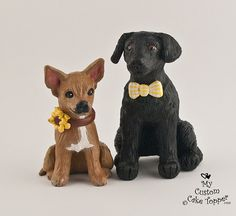 Realistic Dogs Black Lab Chihuahua Wedding Cake Topper by My Custom Cake Topper, via Flickr