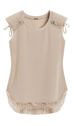 Little details make this silk top undeniably feminine, like lace and ruched accents. Little details make this silk top undeniably feminine, like lace and ruched accents. Fashion Clothes, Fashion Dresses, Casual Outfits, Cute Outfits, Lace Tops, Sewing Clothes, Refashion, Blouse Designs, Feminine