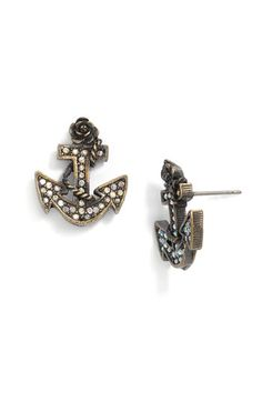 """Betsey Johnson """"In the Navy"""" Anchor Stud Earrings, $15.90"""