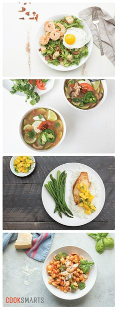 Weekly Meal Plan Menu | Week of 3/20/17 via @cooksmarts - Salad Lyonnaise, Tom Kha Gai Soup, Chicken with Mango Salsa, and Spicy Chickpea & Broccoli Orecchiette. #mealplan #mealplanning #weeknightdinners #homecooking