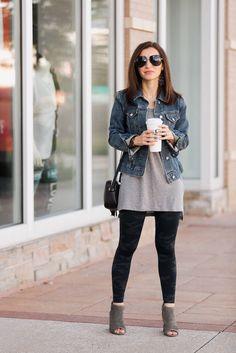 a1ef38c0855 Grey short sweater dress with black leggings