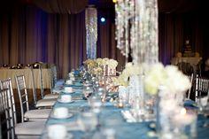 elegant spring wedding with blue, silver, ivory wedding color palette- wedding venue, decor details
