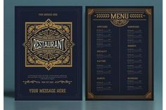 Restaurant Menu Layout with Ornamental Elements #menu #card #food #vintage #western #restaurant #bar #retro #template #ornaments Restaurant Menu Template, Menu Restaurant, Business Brochure, Business Card Logo, Western Restaurant, Menu Layout, Messages, Line Design, Journal Cards