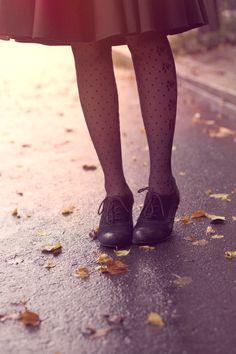 full skirt, polka dot tights, oxford heels