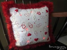 Valentine's Day LED eTextile embroidery pillow