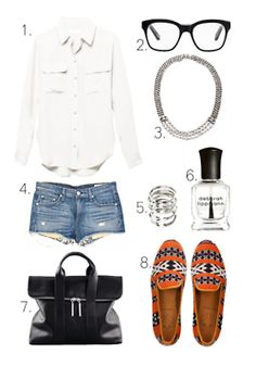 what-do-i-wear:    1.Signature BlousefromEquipment2.Sahara GlassesfromElizabeth and James3.Macanta NecklacefromDANNIJO4.The Mila ShortsfromRag & Bone/JEAN5.ASOSWrapped Coil Ring6.Deborah LippmannNail Polish inOn A Clear Day7.31 Hour Bagfrom3.1 Phillip Lim  8.Najet Tapestry FlatsfromCobra Society(image:lefashionimage)