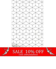 Sale - Geometric Cube Black Peel & Stick Fabric Wallpaper Repositionable