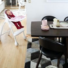 Perfect pink highchair blends in well with all modern homes