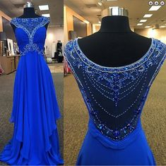 Royal Blue Beading A-Line Prom Dresses,Long Evening Dresses,Prom Dresses On Sale