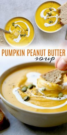 Pumpkin Peanut Butter Soup! This easy to make, rich and creamy pumpkin soup is quickly going to become a staple in your house this fall season. It's perfect paired with crusty bread or homemade biscuits. Definitely a crowd-pleaser! #pumpkin #pumpkinsoup #peanutbutter #vegan #dairyfree #vegandinner #veganpumpkinsoup