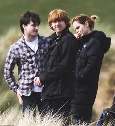 Harry, Ron, and Hermione->Harry Potter Harry Potter Pictures, Harry Potter Characters, Harry Potter Universal, Harry Potter Movies, Harry Potter World, Ron Weasley, Harry Hermione Ron, Golden Trio, Harry Potter Fandom