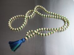 Blue & Green Tassel Necklace Yoga Mala Antique Cream Off White Beads Tassel Long Necklace Light Colored Mala Layered Beaded Wooden Necklace