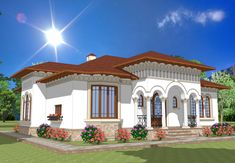 casa terasa neoromaneasca - Căutare Google Rustic Houses Exterior, Interior Exterior, Style At Home, Hut House, Colonial House Plans, Aesthetic Room Decor, Design Case, Home Fashion, Traditional House