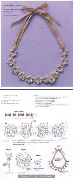 Irish Crochet rose necklace