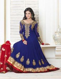 Sonal Chauhan in Blue Long Bollywood Anarkali Suit -Clothing-ODFASHION, http://www.junglee.com/dp/B00E9PTTSQ/ref=cm_sw_cl_pt_dp_B00E9PTTSQ
