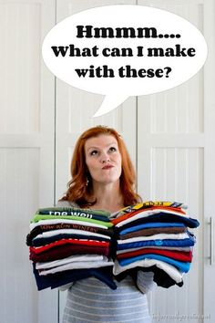 What do you do with old t-shirts? Don't throw them away. Read 12 ways to recycle t-shirt ideas and start creating new from old. #upcycle #recycle #tshirt #refashion Upcycle T Shirts, Diy Old Tshirts, Recycled Shirts, Recycled Sweaters, Trash To Couture, Diy Kleidung Upcycling, Umgestaltete Shirts, Diy Vetement, Diy Mode