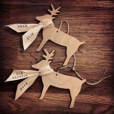 Custom Reindeer Ornament with personalized name or message by Paloma's Nest