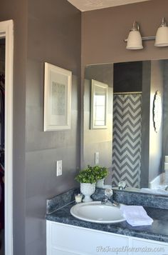 Master bathroom makeover - from boring beige to gray and spa-like!    Painted in @behrpaint Magnet Marquee from @homedepot and stripes created with @scotchblue Painter's Tape Delicate Surfaces.  #ad  #3Mpartner #thehomedepot