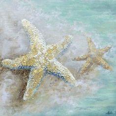 Yosemite Home Decor Revealed Artwork 'Starfish II' Original Painting on Wrapped Canvas Starfish Painting, Starfish Art, Turtle Painting, Art Plage, Sea Turtle Art, Beach Watercolor, Watercolor Flowers, Summer Painting, Coastal Art