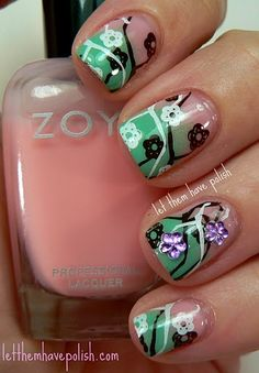 cherry tree konad manicure. will have to try this since I have that plate.
