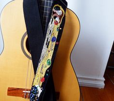 The Kiss   Guitar Strap Custom Klimpt Hand Embroidered by Meoneil