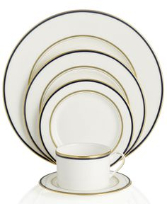 "kate spade new york ""Library Lane"" Navy 5-Piece Place Setting - Fine China - Dining & Entertaining - Macy's Bridal and Wedding Registry"