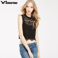 >> Click to Buy << Witsources women sexy short full lace blouses shirts summer new sleeveless casual blouse shirt SB2782 #Affiliate