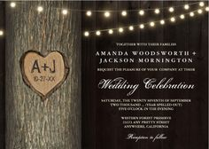 Carved Initials Old Oak Tree Wedding Invitations - features an old wood background with an old oak tree and string lights.
