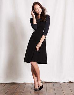 Black/Ivory/Raven Curve & Flare Dress Boden