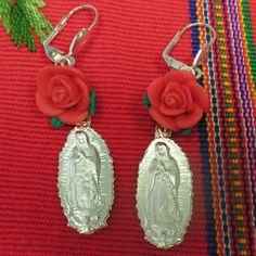 Virgen de Guadalupe milagro earrings with Red Rose.. $10.00, via Etsy.