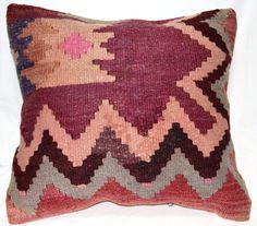 "Anatolian Turkish Handmade kilim pillow cover Red Pink Brown Grey Stripes NY LA Arizona Texas Ranch home decor  ethnic 16"" X 15"" C65"