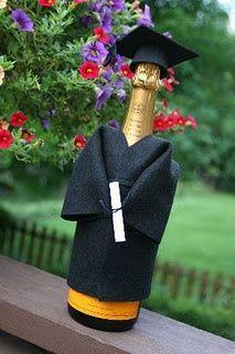 graduation party - bottle with cap & gown