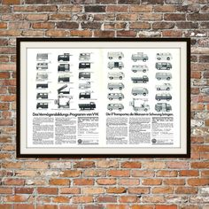 This beautiful print artwork is the VW Bus/Transporter Range Rendition of Advertisement. This is from an original advertisement from a magazine,