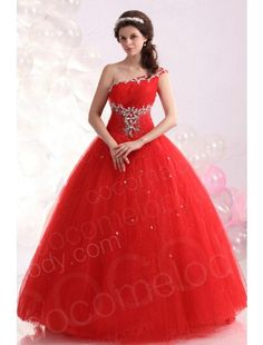 Noble Ball Gown One Shoulder Floor Length Tulle Red Quinceanera Dress COUF13002 $279.99 Quinceanera Dress,Quinceanera Dress,Quinceanera Dress,Quinceanera Dress