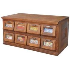 Candy or seed display cabinet, oak 8-tip-down doors w/glass windows & iron pulls, unusual slant fron