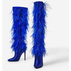 Kobe Feather Detail Long Boot In Blue Satin ($111) ❤ liked on Polyvore featuring shoes, boots, long boots, satin boots, blue color shoes, blue boots and long shoes