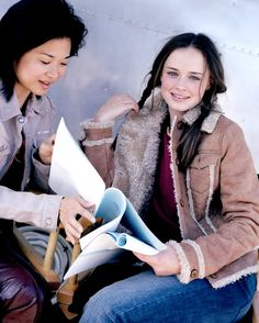Keiko Agena & Alexis Bledel - On the set of Gilmore Girls