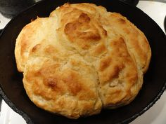 Hallelujah biscuits - No rolling pin, no cutting them out, cast iron skillet a must.