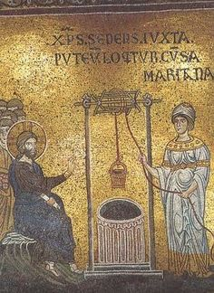 Christ and Samaritan woman (Monreale) Visit link for archived reflection on the woman at the well.