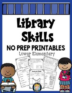 Library Skills No Prep Printables- Lower Grades. This booklet contains over 30 pages of no prep printables for teaching library skills for the lower grades! Also available as a bundle in my store :-) School Library Lessons, Library Lesson Plans, Elementary School Library, Library Skills, Kindergarten Library Lessons, Elementary Schools, Library Rules, Library Books, Library Ideas